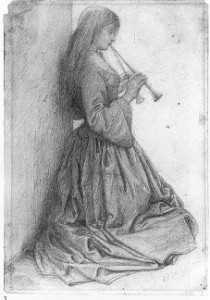 Elizabeth Siddal kneeling with double pipe