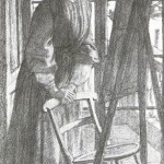 Siddal-standing-at-easel