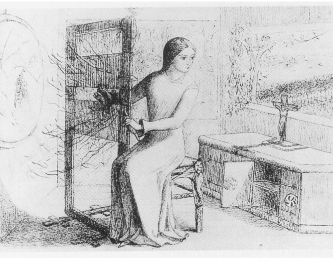 Illustration, drawn by Elizabeth Siddal, for Tennyson's The Lady of Shalott.