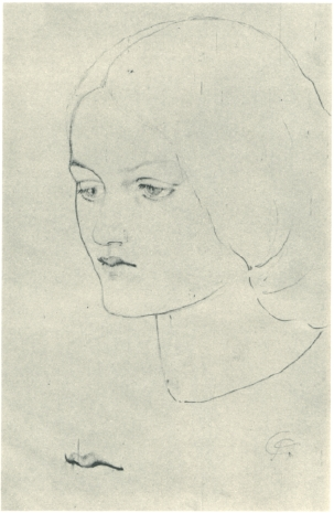 Elizabeth Siddal drawn by Rossetti, circa 1850.