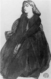 Elizabeth Siddal seated in a basket chair