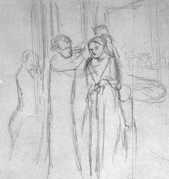 At the Milliners, drawn by Elizabeth Siddal