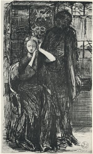 Dante Gabriel Rossetti and Elizabeth Siddal, drawn by DGR.