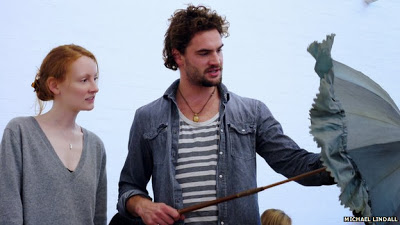 Emma West as Lizzie and Tom Bateman as Dante Gabriel Rossetti in rehearsals for Lizzie Siddal